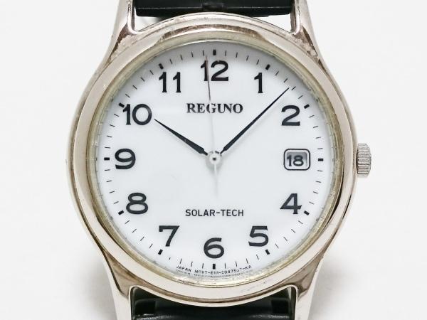 REGUNO(レグノ) 腕時計 E111-S028281 メンズ SOLAR-TECH/革ベルト 白