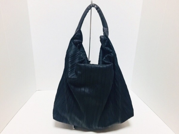 PAPILLONNER(パピヨネ) ショルダーバッグ 黒×ダークブラウン 化学繊維×合皮