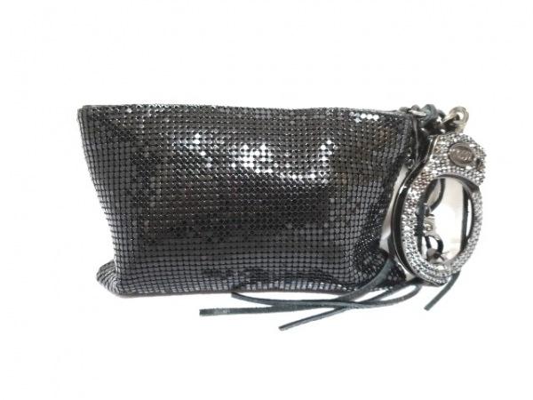 カフスバイリンツ バッグ 黒 ハンドカフ/ラインストーン 金属素材×化学繊維