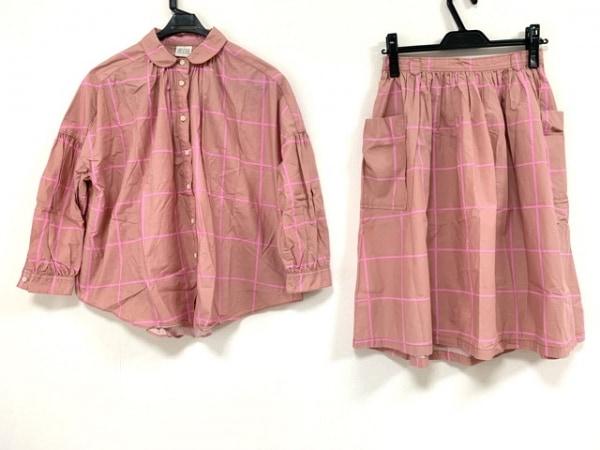ビュルデサボン スカートセットアップ サイズF レディース ベージュ×ピンク