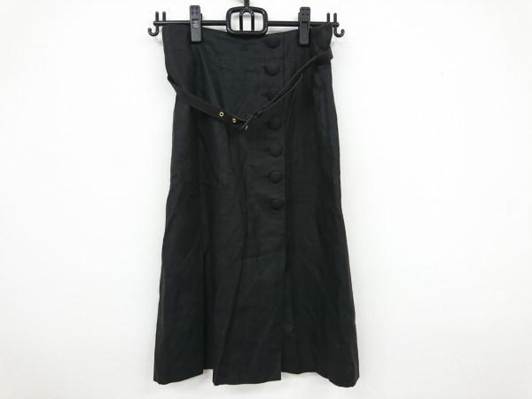 Max Mara(マックスマーラ) スカート レディース美品  黒 麻/ベルト付属
