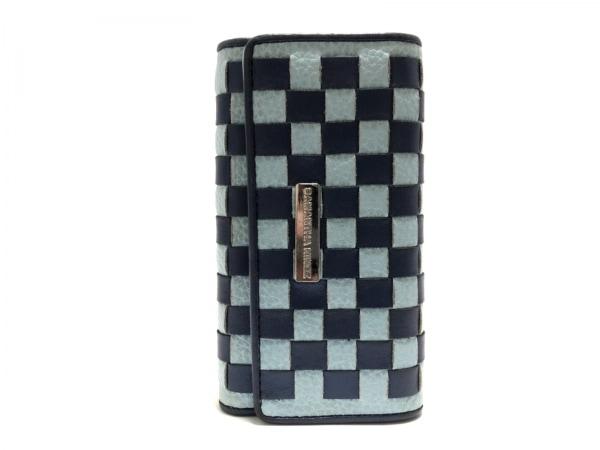 サマンサキングズ キーケース ライトブルー×ネイビー 4連フック/チェック柄 合皮