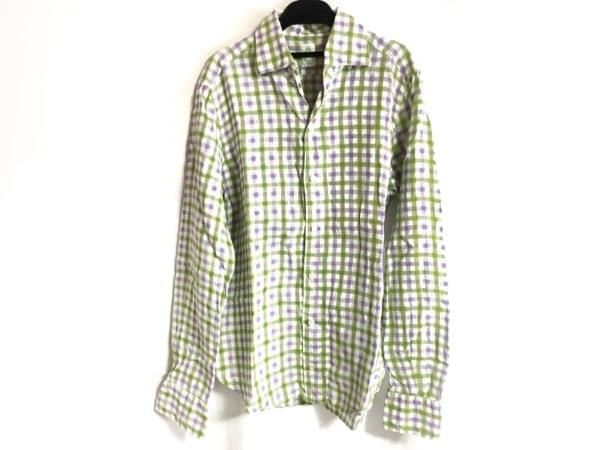 finamore(フィナモレ) 長袖シャツ サイズ40 M メンズ 白×ライトグリーン×パープル