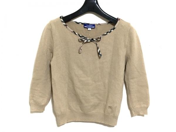バーバリーブルーレーベル 七分袖セーター サイズM レディース ベージュ×黒×マルチ