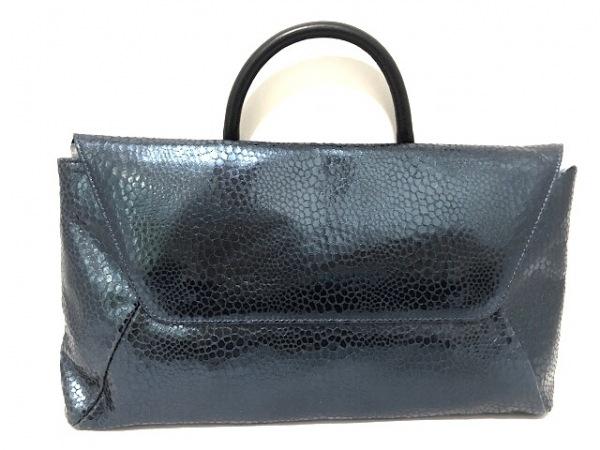 HIROKO HAYASHI(ヒロコハヤシ) ハンドバッグ美品  黒×ブルー レザー