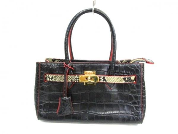 COCOCELUX GOLD(ココセリュックスゴールド) ハンドバッグ美品  黒 型押し加工 レザー