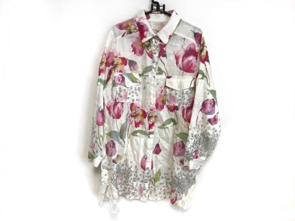 ROSSA(ロッサ) 長袖シャツブラウス サイズ44 L レディース美品  白×ピンク×マルチ
