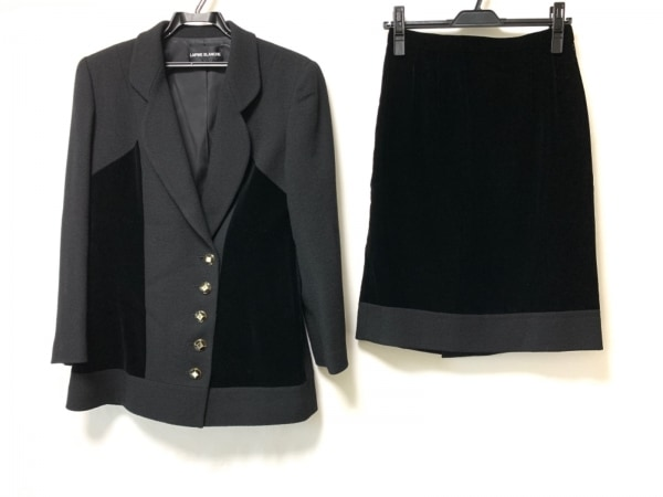 lapine blanche(ラピーヌブランシュ) スカートスーツ サイズ9 M レディース 黒