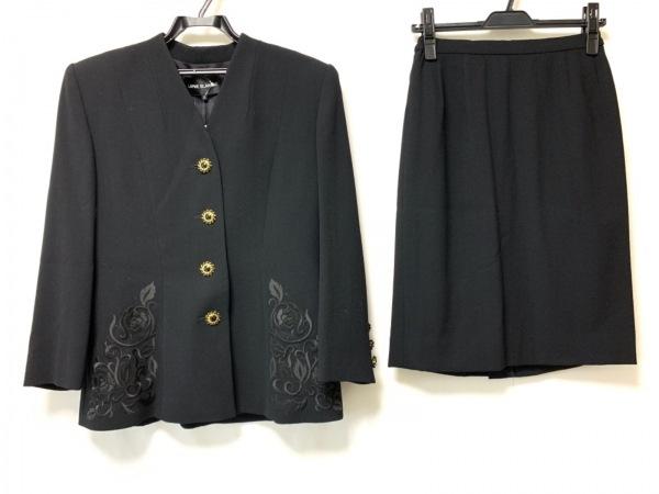 lapine blanche(ラピーヌブランシュ) スカートスーツ サイズ11 M レディース 黒 刺繍