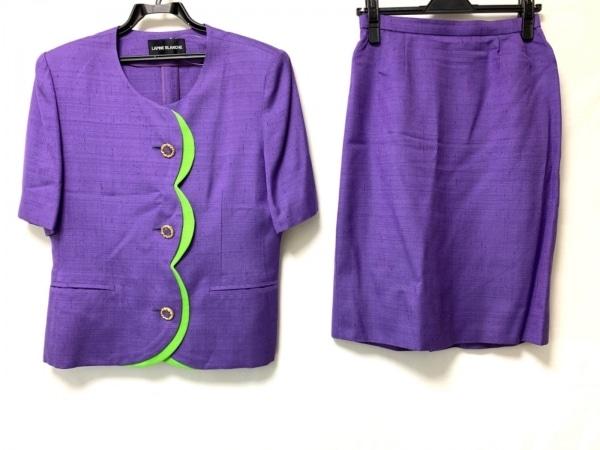 ラピーヌブランシュ スカートスーツ サイズ11 M レディース パープル×ライトグリーン