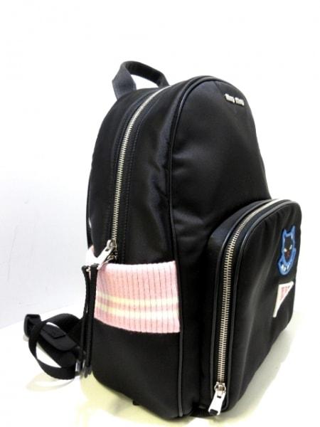 ミュウミュウ リュックサック - 5BZ009 黒×ピンク×アイボリー ネコ/ワッペン