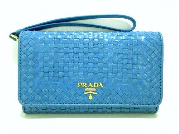 PRADA(プラダ) 財布 - 1M1438 ライトブルー 編みこみ レザー