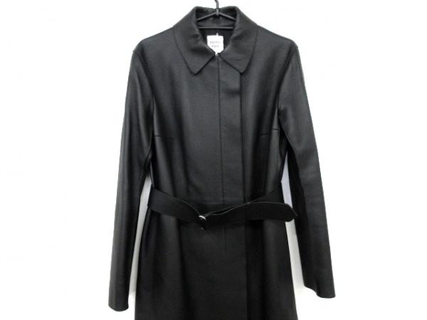 HERMES(エルメス) コート サイズ38 M レディース美品  黒 ディアレザー(鹿革)
