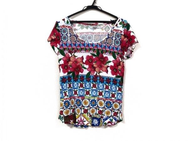 Desigual(デシグアル) 半袖Tシャツ サイズS レディース 白×レッド×マルチ 花柄