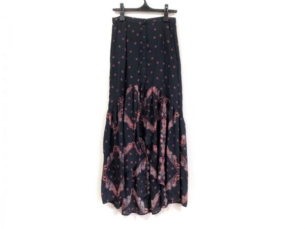 Desigual(デシグアル) ロングスカート サイズ36 M レディース 黒×レッド×マルチ