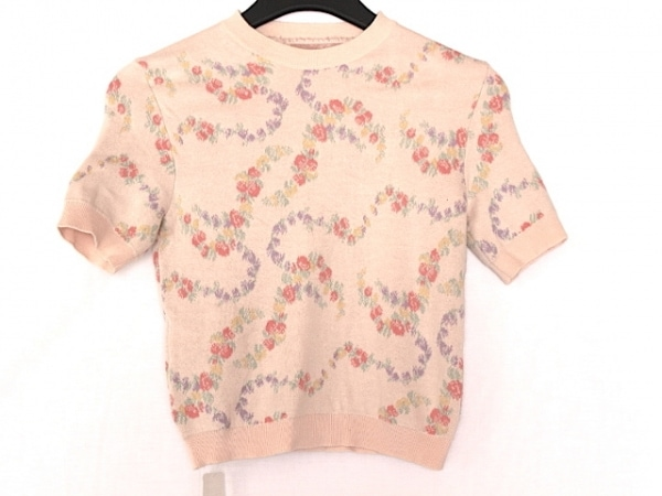 ミュウミュウ 半袖セーター サイズ36 S レディース美品  ピンク×マルチ 花柄/2015