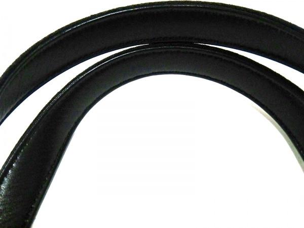 ギンザカネマツ ハンドバッグ 黒 PVC(塩化ビニール)×コットン×レザー