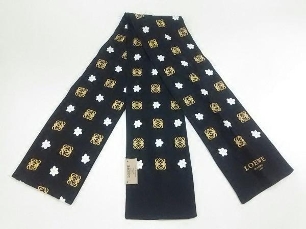 LOEWE(ロエベ) スカーフ美品  黒×ライトブラウン×マルチ 花柄/リボンスカーフ