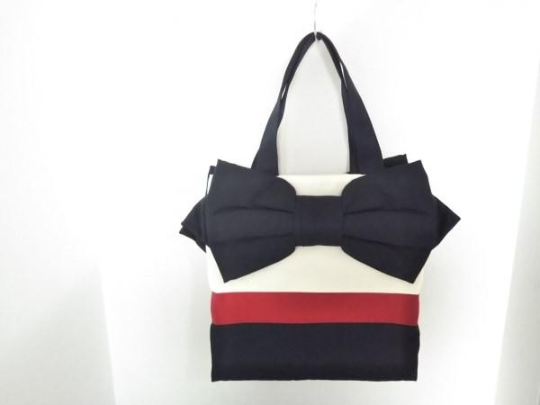 ミュゲ トートバッグ新品同様  アイボリー×黒×レッド リボンの騎士/リボン 化学繊維