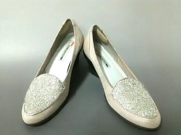 コンポジション 靴 レディース美品  ベージュ×クリア ビジュー 化学繊維