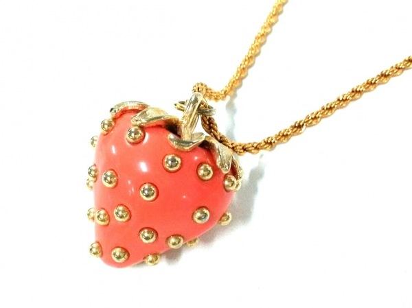 ケネスジェイレーン ネックレス美品  金属素材×プラスチック ゴールド×オレンジ