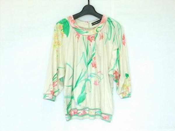 レオナール 七分袖カットソー サイズM レディース ベージュ×グリーン×ピンク 花柄