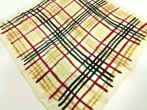 Burberry(バーバリー) スカーフ美品  アイボリー×レッド×黒