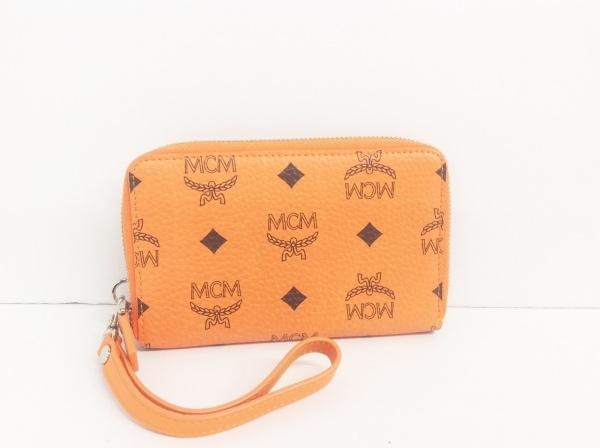 MCM(エムシーエム) 財布 オレンジ ラウンドファスナー 合皮