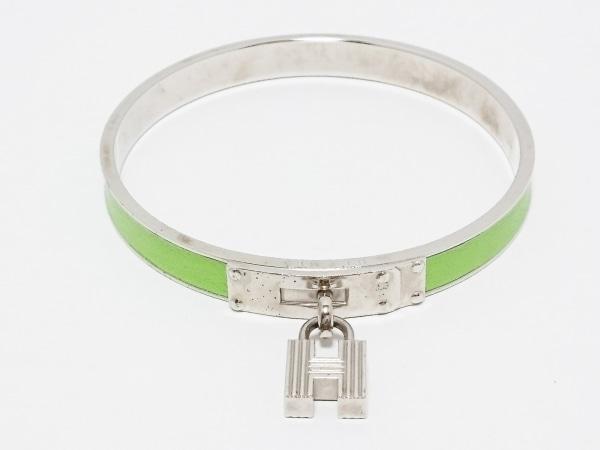 エルメス バングル ケリーバングル 金属素材×レザー シルバー×ライトグリーン