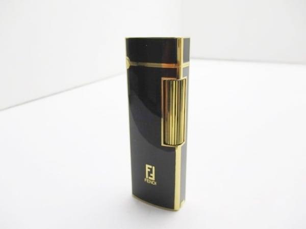 FENDI(フェンディ) ライター 黒×ゴールド 着火確認済み 金属素材