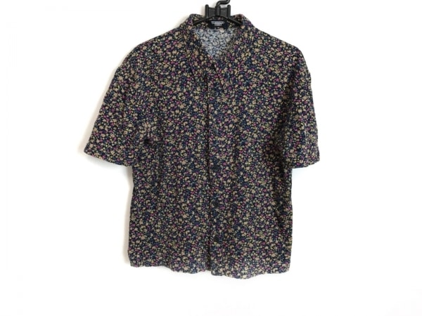 トルネードマート 半袖シャツブラウス レディース 黒×ブルー×マルチ 花柄