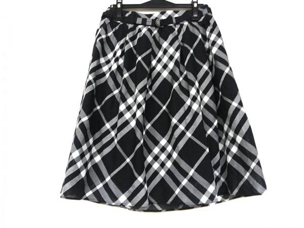 バーバリーロンドン スカート サイズ38 L レディース美品  黒×白 チェック柄