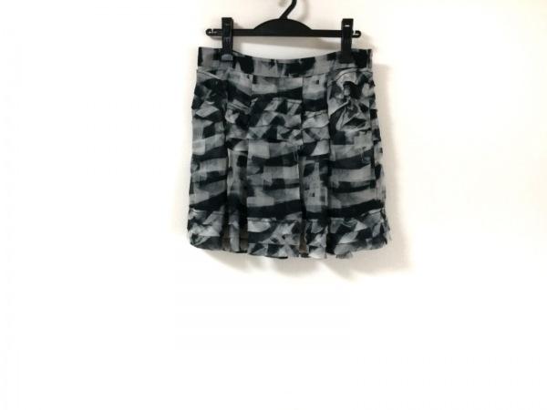 セオリー ミニスカート サイズ2 S レディース美品  白×黒×ダークグリーン シルク