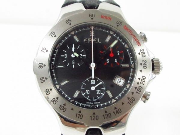 エベル 腕時計美品  スポーツウェーブ E9251642 メンズ 革ベルト/クロノグラフ 黒