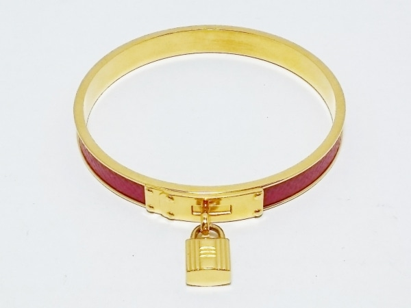 HERMES(エルメス) バングル美品  ケリーバングル 金属素材×レザー ゴールド×レッド