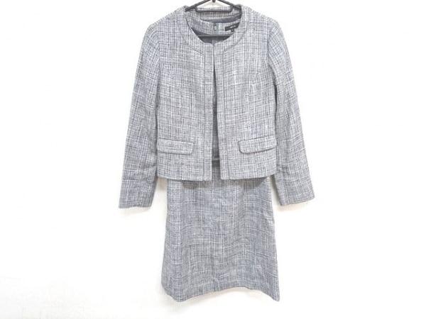 コムサイズム ワンピーススーツ サイズM レディース美品  グレー ラメ/リボン