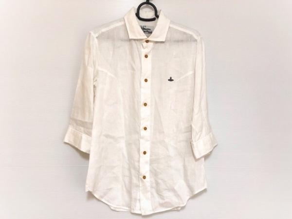 ヴィヴィアンウエストウッドマン 七分袖シャツ サイズ46 XL メンズ 白