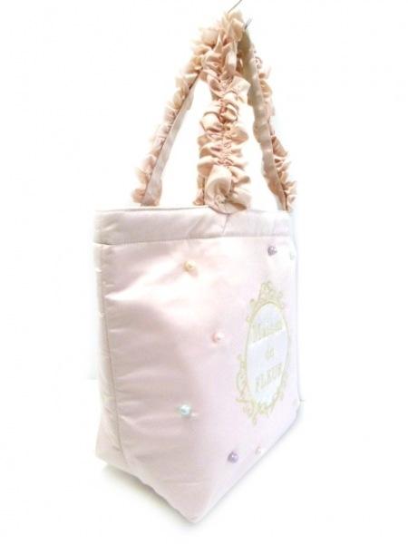 メゾンドフルール トートバッグ美品  ライトピンク×アイボリー×ゴールド 化学繊維