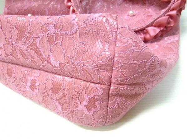 メゾンドフルール トートバッグ ピンク フェイクパール/レース 化学繊維