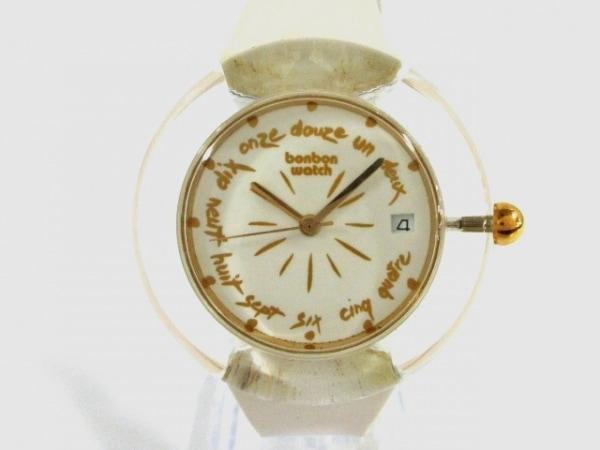 ボンボンウォッチ 腕時計美品  - レディース ラバーベルト/裏スケ アイボリー