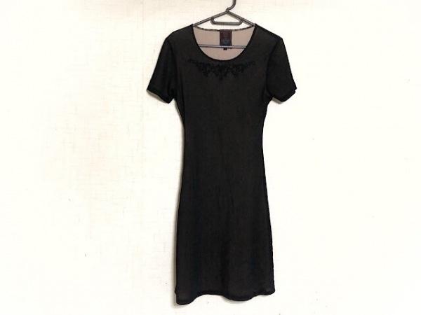 ゴルチエ ワンピース サイズ40 M レディース新品同様  黒×ベージュ 刺繍/メッシュ