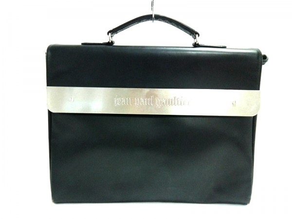 JeanPaulGAULTIER(ゴルチエ) ビジネスバッグ 黒×シルバー レザー×金属素材