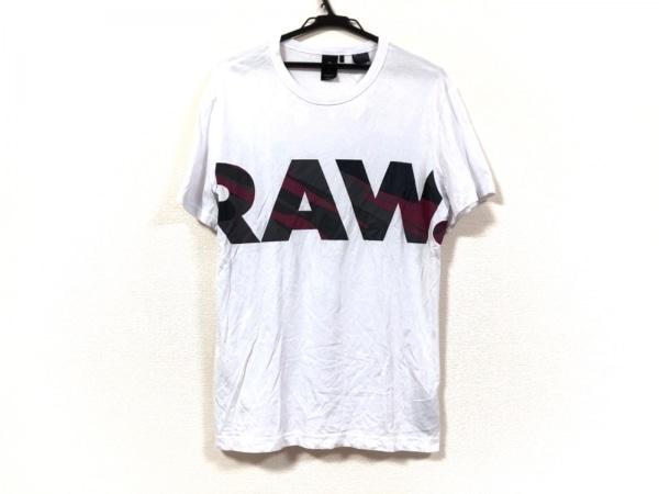 G-STAR RAW(ジースターロゥ) 半袖Tシャツ サイズM メンズ 白×ダークグレー×パープル