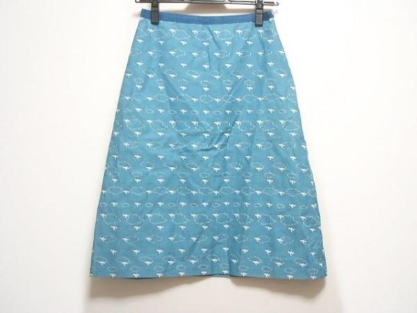 ミナペルホネン スカート サイズ36 S レディース ライトブルー×白×ブルー 刺繍