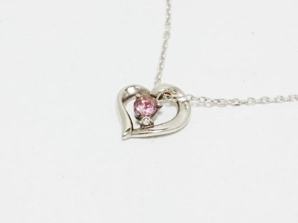 4℃(ヨンドシー) ネックレス美品  シルバー×カラーストーン ピンク ハート