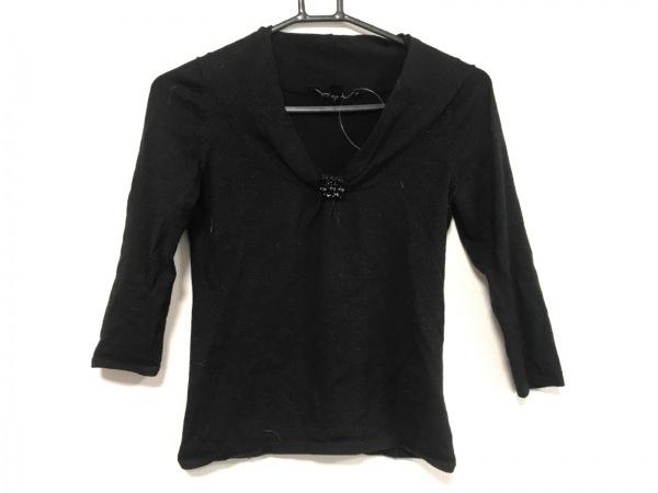 MATERIA(マテリア) 七分袖セーター サイズ38 M レディース 黒 ビジュー/ラメ