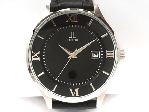 LANCETTI(ランチェッティ) 腕時計美品  LT-6847 メンズ 革ベルト 黒