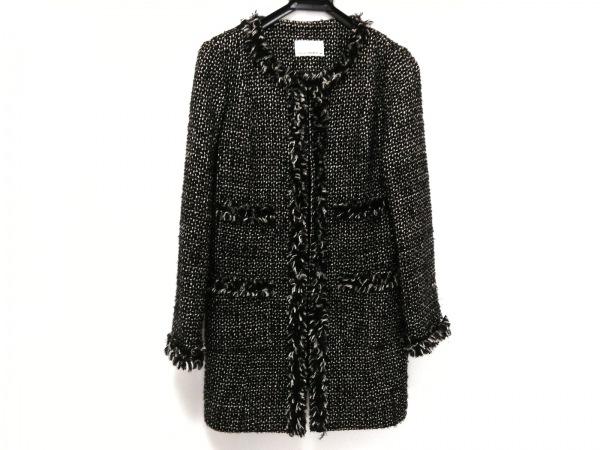 M-premierBLACK(エムプルミエブラック) コート サイズ38 M レディース 黒×白 冬物