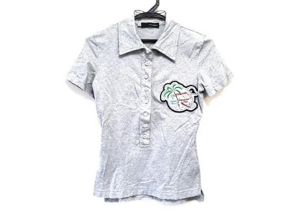 ディースクエアード 半袖ポロシャツ サイズS レディース グレー ダメージ加工