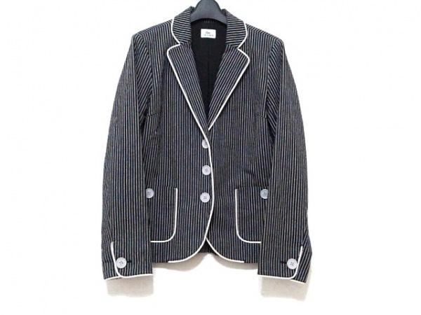 Lacoste(ラコステ) ジャケット サイズ42 L レディース 黒×白 ストライプ